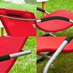SoBuy OGS28-R Fauteuil à bascule Chaise longue Transat de jardin avec repose-pieds, Bain de soleil Rocking Chair - Rouge de la marque SoBuy image 2 produit