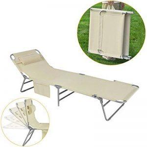 SoBuy® OGS35-MI Chaise Longue Bain de soleil Transat de Jardin Pliant Chaise de Camping inclinable, pliable et réglable – Beige de la marque SoBuy image 0 produit
