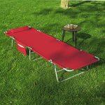 SoBuy OGS35-R Chaise Longue Bain de soleil Transat de Jardin Pliant Chaise de Camping inclinable, pliable et réglable - Rouge de la marque SoBuy image 4 produit