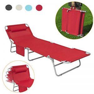 SoBuy OGS35-R Chaise Longue Bain de soleil Transat de Jardin Pliant Chaise de Camping inclinable, pliable et réglable - Rouge de la marque SoBuy image 0 produit