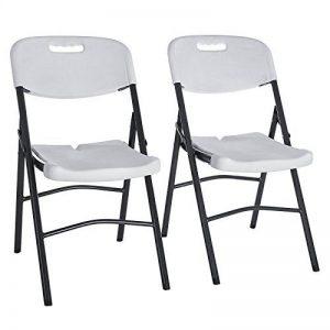 SONGMICS Lot de 2 chaises pliantes Chaise de jardin Pliable Stable Légère Gain de place Plastique Usage à l'intérieur et à l'extérieur Pour balcon, terrasse, jardin, camping Couleur blanche GPC01WT de la marque SONGMICS image 0 produit