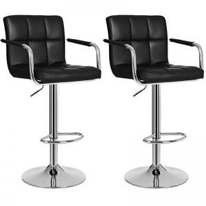 Songmics Lot de 2 Tabourets de bar haut Chaise de bar simili cuir PU chrome hauteur réglable grande base Φ 41 cm LJB93B de la marque SONGMICS image 0 produit