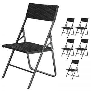 SONGMICS Lot de 6 chaises pliantes Chaise de jardin Pliable Stable Légère Gain de place Aspect imitation rotin Plastique Usage à l'intérieur et à l'extérieur Pour balcon, terrasse, jardin, camping Couleur noire GPC32BK de la marque SONGMICS image 0 produit