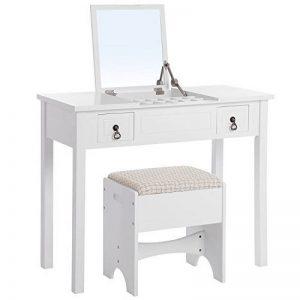 Songmics miroir escamotable Table de maquillage coiffeuse moderne avec tabouret 3 amovible boîte de rangement couleur blanche RDT01W de la marque SONGMICS image 0 produit