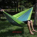 StillCool Hamac de Camping avec Moustiquaire 200kg Capacité de charge,(260 x 130cm) Parachute Double Hamac en Tissu Portable pour Voyage Camping Hiking Randonnée (Vert claire & vert foncé) de la marque StillCool image 3 produit