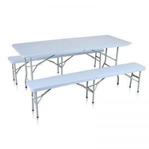 Strattore Ensemble Table Banc de Jardin en Plastique Traiteur Pliante Table Buffet Picnic Plateau Camping Pliable avec Poignée en Gris clair de la marque Strattore image 0 produit
