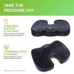 Supportiback ® Coussin orthopédique pour une soulagement immédiat des douleurs dorsales et des douleurs liées au coccyx – Coussin à mousse ergonomique avec un revêtement en gel innovant retenant la forme – Parfaite assise orthopédique au bureau, en voitur image 3 produit
