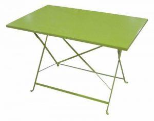 Table de jardin pliante rectangle 110 X 70 cm en acier traité époxy Coloris VERT POMME de très belle qualité de la marque HESPERIDE image 0 produit