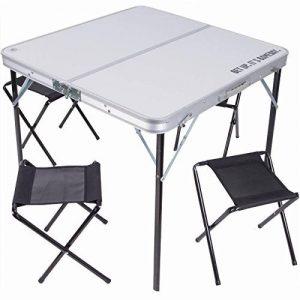 Table Pliante 80 X 80 cm avec 4 Chaises en Aluminium avec Tabourets-Nique Camping Pliable en Valise-Usage Pratique et Design Moderne Extérieur de la marque Bakaji image 0 produit