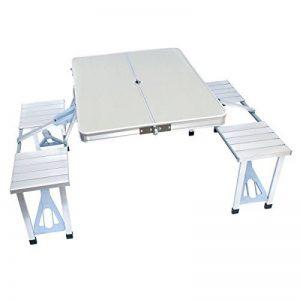 Table pliante en aluminium avec table bancs de camping bank mobile pour 4 personnes biertischgarnitur de la marque Goods & Gadgets image 0 produit