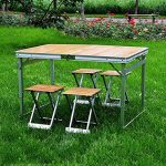Table pliante Table Pliante 2 Hauteurs Réglables En Alliage D'aluminiumPliage Pliable Table De Camping Portative Table À Manger Table De Voyage Mariage / Jardin / Rue Party In / Out Porte / Marché / Fête / Fair Foldaway (taille: 113 * 70 * 70cm) de la mar image 6 produit