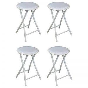 Tabouret pliant - rond/compact - blanc - lot de 4 de la marque Harbour Housewares image 0 produit