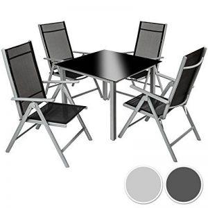 TecTake Aluminium 4+1 salon de jardin ensemble sièges meubles chaise table en verre - diverses couleurs au choix - (gris argent | no. 402169) de la marque TecTake image 0 produit