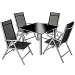 TecTake Aluminium 4+1 salon de jardin ensemble sièges meubles chaise table en verre - diverses couleurs au choix - (gris argent | no. 402169) de la marque TecTake image 1 produit