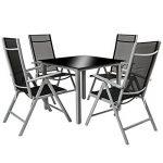 TecTake Aluminium 4+1 salon de jardin ensemble sièges meubles chaise table en verre - diverses couleurs au choix - (gris argent | no. 402169) de la marque TecTake image 2 produit