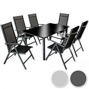 TecTake Aluminium 6+1 salon de jardin ensemble sièges meubles chaise table en verre gris foncé (Gris foncé | No. 402166) de la marque TecTake image 0 produit
