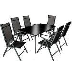 TecTake Aluminium 6+1 salon de jardin ensemble sièges meubles chaise table en verre gris foncé (Gris foncé | No. 402166) de la marque TecTake image 1 produit