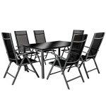 TecTake Aluminium 6+1 salon de jardin ensemble sièges meubles chaise table en verre gris foncé (Gris foncé | No. 402166) de la marque TecTake image 2 produit