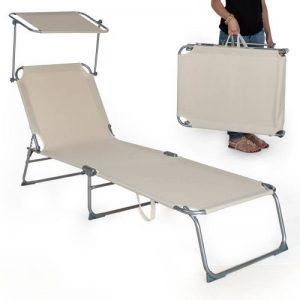 TecTake Chaise longue bain de soleil avec parasol pare soleil beige de la marque TecTake image 0 produit