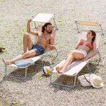 TecTake Chaise longue bain de soleil avec parasol pare soleil beige de la marque TecTake image 1 produit