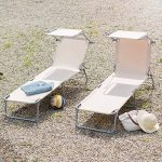 TecTake Chaise longue bain de soleil avec parasol pare soleil beige de la marque TecTake image 2 produit