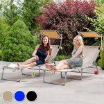 TecTake Chaise longue bain de soleil avec parasol pare soleil beige de la marque TecTake image 3 produit