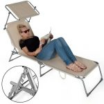 TecTake Chaise longue bain de soleil avec parasol pare soleil beige de la marque TecTake image 4 produit