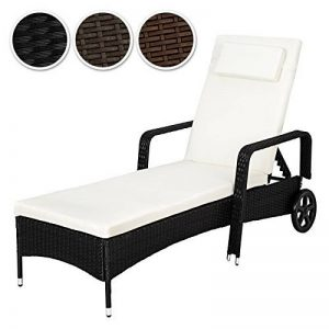 TecTake Chaise longue en aluminium et poly rotin avec accoudoirs et roues - diverses couleurs au choix - (Noir | no. 402119) de la marque TecTake image 0 produit