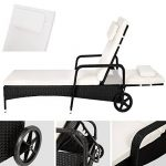 TecTake Chaise longue en aluminium et poly rotin avec accoudoirs et roues - diverses couleurs au choix - (Noir | no. 402119) de la marque TecTake image 4 produit