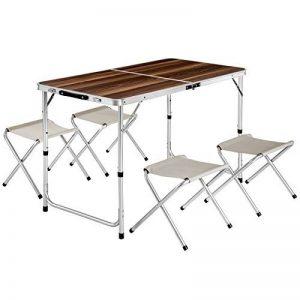 TecTake Eensemble table pliante valise avec 4 tabourets portable aluminium | dimensions replié (LxlxH) 61x61x6,5 cm de la marque TecTake image 0 produit