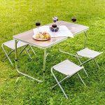 TecTake Eensemble table pliante valise avec 4 tabourets portable aluminium | dimensions replié (LxlxH) 61x61x6,5 cm de la marque TecTake image 1 produit