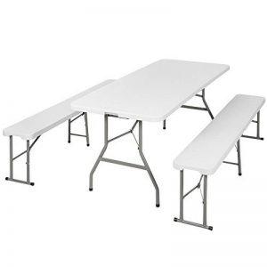 TecTake Ensemble table pliante et 2 bancs jardin pliables camping buffet traiteur de la marque TecTake image 0 produit