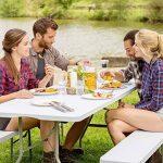 TecTake Ensemble table pliante et 2 bancs jardin pliables camping buffet traiteur de la marque TecTake image 1 produit