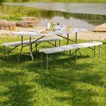 TecTake Ensemble table pliante et 2 bancs jardin pliables camping buffet traiteur de la marque TecTake image 2 produit