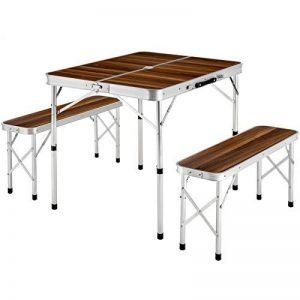 TecTake Ensemble table pliante valise avec 2 bancs portable aluminium | dimensions replié (LxlxH) 91x10x34 cm de la marque TecTake image 0 produit