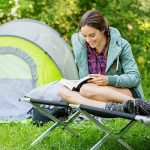 TecTake Lit de camp pliable XL 150kg lit d'ami camping jardin pliant + poche NOIR de la marque TecTake image 2 produit