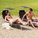 TecTake Lot de 2 chaise longue bain de soleil en aluminium pliable avec parasol pare soleil - diverses couleurs au choix - (Noir | no. 401549) de la marque TecTake image 1 produit