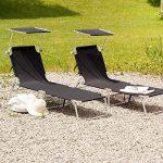 TecTake Lot de 2 chaise longue bain de soleil en aluminium pliable avec parasol pare soleil - diverses couleurs au choix - (Noir | no. 401549) de la marque TecTake image 2 produit