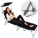 TecTake Lot de 2 chaise longue bain de soleil en aluminium pliable avec parasol pare soleil - diverses couleurs au choix - (Noir | no. 401549) de la marque TecTake image 5 produit