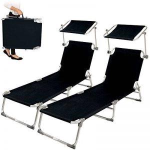 TecTake Lot de 2 chaise longue bain de soleil en aluminium pliable avec parasol pare soleil - diverses couleurs au choix - (Noir | no. 401549) de la marque TecTake image 0 produit