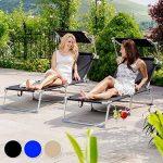 TecTake Lot de 2 chaise longue bain de soleil en aluminium pliable avec parasol pare soleil - diverses couleurs au choix - (Noir | no. 401549) de la marque TecTake image 4 produit