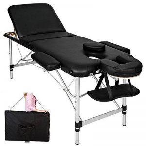 TecTake Table de massage pliante aluminium cosmetique lit de massage portable noir + housse de transport de la marque TecTake image 0 produit