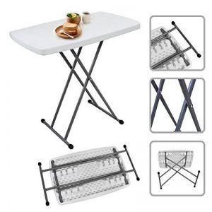 Todeco - Table Pliante Ajustable, Table Compacte et Pliable - Matériau: Acier - Surface supérieure: 76 x 50 cm - 76 x 50 x 51/63/74 cm, Blanc de la marque Todeco image 0 produit