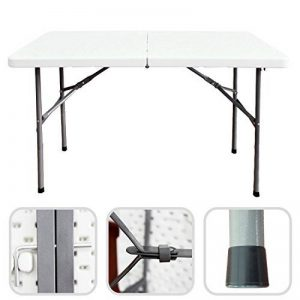 Todeco - Table Pliante Transportable, Table en Plastique Robuste - Matériau: HDPE - Charge maximale: 100 kg - 122 x 61 cm, Blanc, Pliable en deux de la marque Todeco image 0 produit