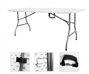 Todeco - Table Pliante Transportable, Table en Plastique Robuste - Matériau: HDPE - Charge maximale: 100 kg - 180 x 76 cm, Blanc, Pliable en deux de la marque Todeco image 0 produit