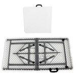 Todeco - Table Pliante Transportable, Table en Plastique Robuste - Matériau: HDPE - Charge maximale: 100 kg - 122 x 61 cm, Blanc, Pliable en deux de la marque Todeco image 2 produit