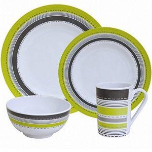 Vaisselle en mélamine de camping pour 4 personnes monaco 16 pièces, passe au lave-vaisselle/couverts table de camping/pique-nique de la marque Hummelladen image 0 produit
