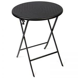 Vanage - Table d'appoint - Table de Jardin ronde en Rotin synthétique - Structure en acier - Pliable et ultra compacte - Parfait pour Jardin, Terrasse et Balcon de la marque Vanage image 0 produit