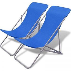 vidaXL Chaise de plage pliable 2 pcs Bleu Ensemble de chaises pour camping randonnée de la marque vidaXL image 0 produit