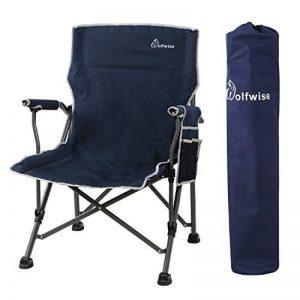 WolfWise Chaise de Plage pliante, Assise Large, Chaise de Camping, Siège Randonnée, Super Solide, Noir de la marque WolfWise image 0 produit